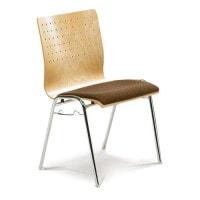 Design-stapelstoel, gestoffeerd, stapelbaar