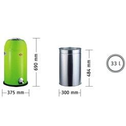 "Pedaalemmer,""Kickmaster"", 33 liter, edelstaal"